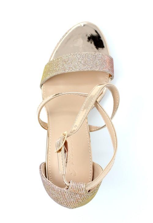Pamela Scott Champagne and Sparkle Strappy Heels