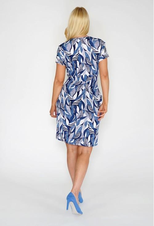 Zapara Abstract Print Dress with Pockets