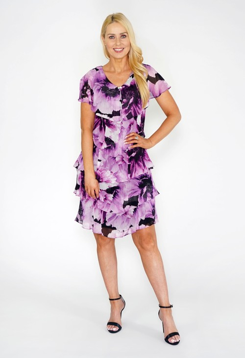 Pamela Scott Floral Print Tiered Dress