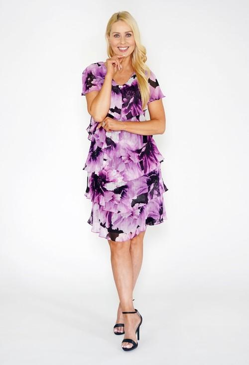 Pamela Scott Floral Print Tiered Dress