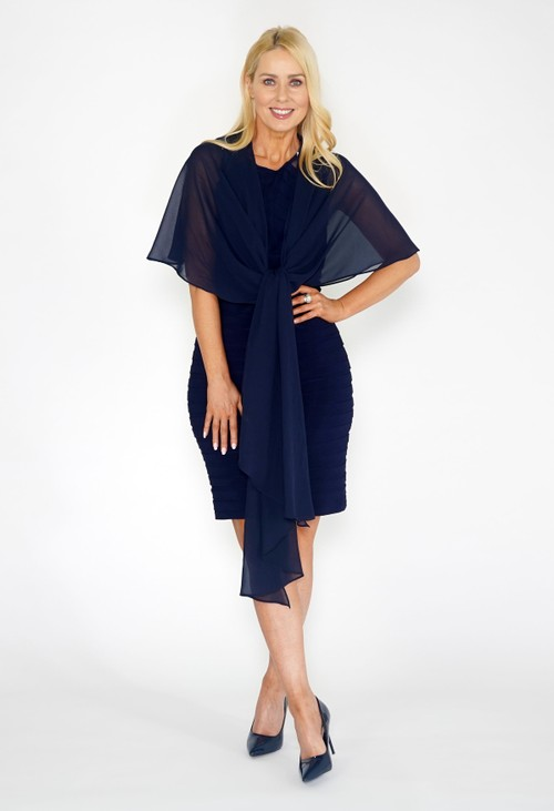 Pamela Scott Navy Chiffon Shoulder Wrap