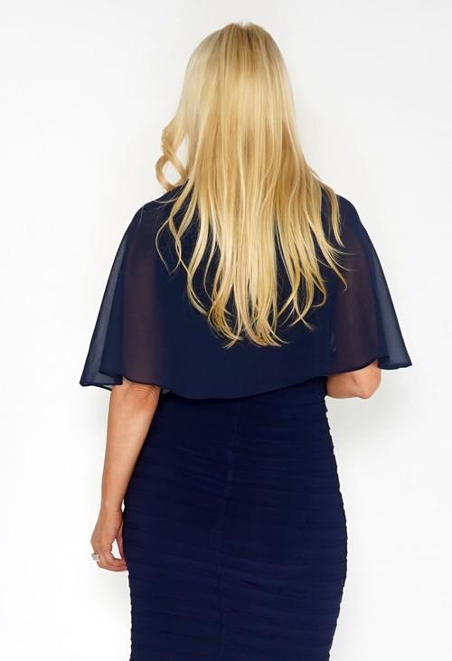 Pamela Scott Navy Chiffon Shoulder Wrap
