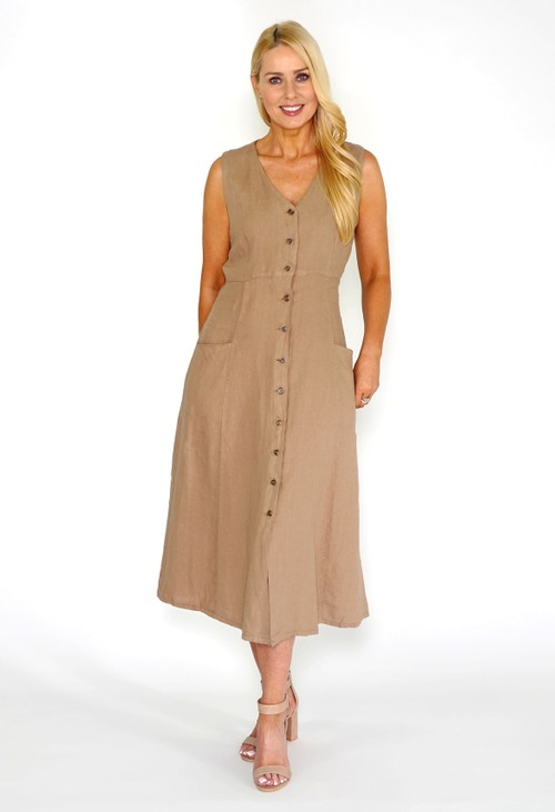 Pamela Scott Sand Button Dress