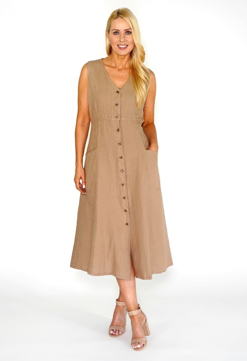 Pomodoro Sand Button Dress