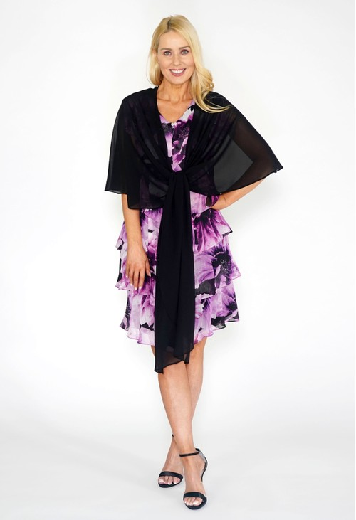 Pamela Scott Black Chiffon Shoulder Wrap