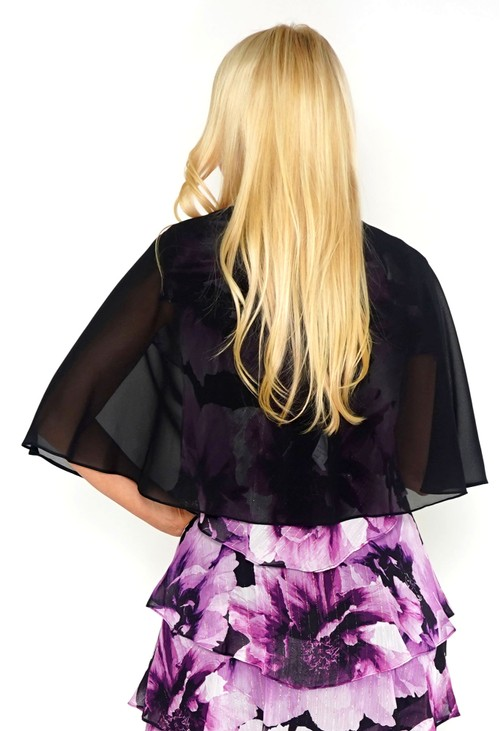 Pamela Scott Black Chiffon Shoulder Wrap