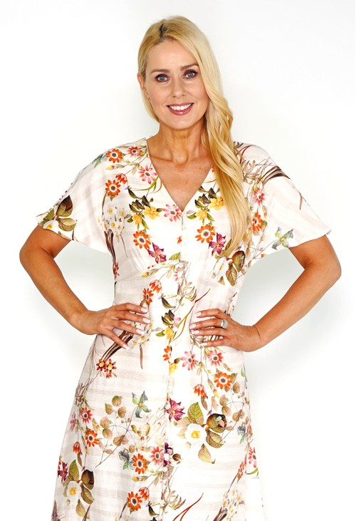Pomodoro Floral Midi Button Dress