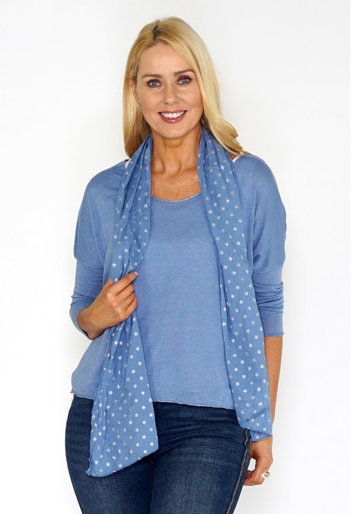 Pamela Scott Blue Jersey Top with Star Print Scarf