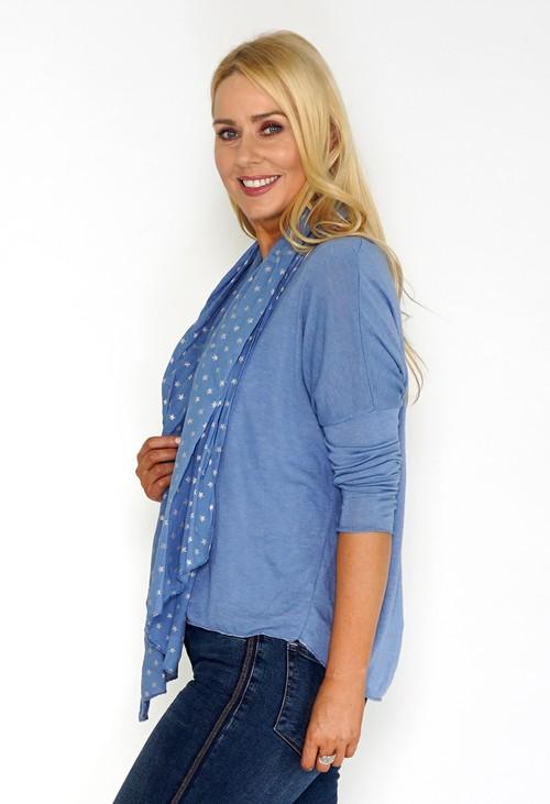 Pamela Scott Blue Jersey Top with Star Print Scarf