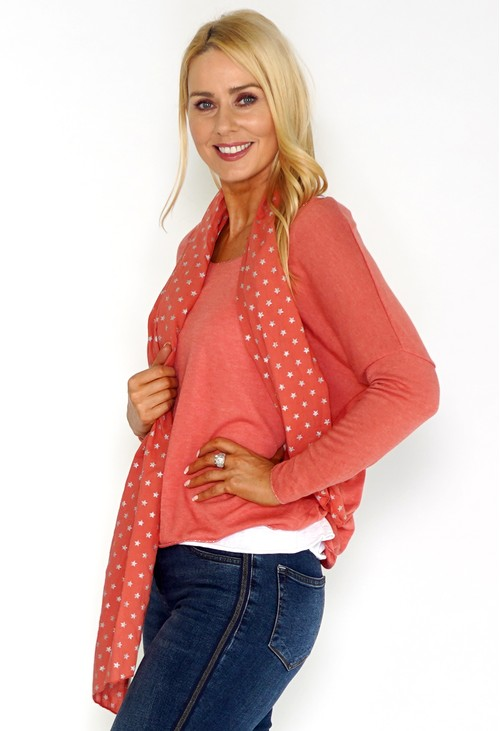 Pamela Scott Coral Jersey Top with Star Print Scarf