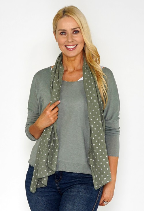 Pamela Scott Khaki Jersey Top with Star Print Scarf
