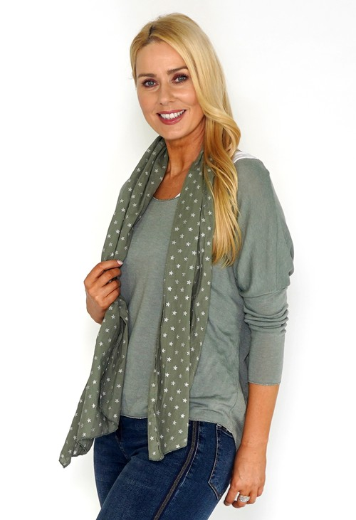 Pamela Scott Khaki Jersey Top with Star Print Scarf