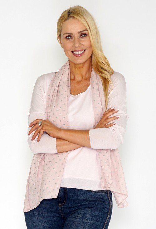 Pamela Scott Pink Jersey Top with Star Print Scarf