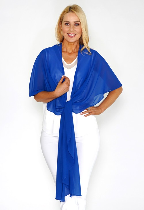 Pamela Scott Blue Chiffon Shoulder Wrap