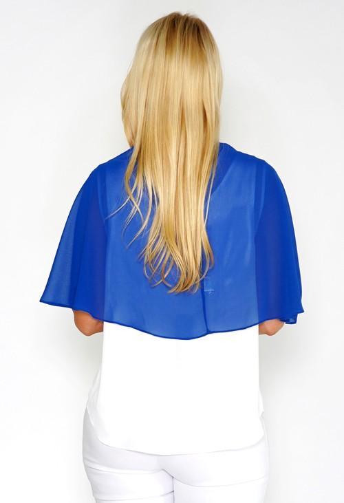 Pamela Scott Blue Chiffon Shoulder Wrap