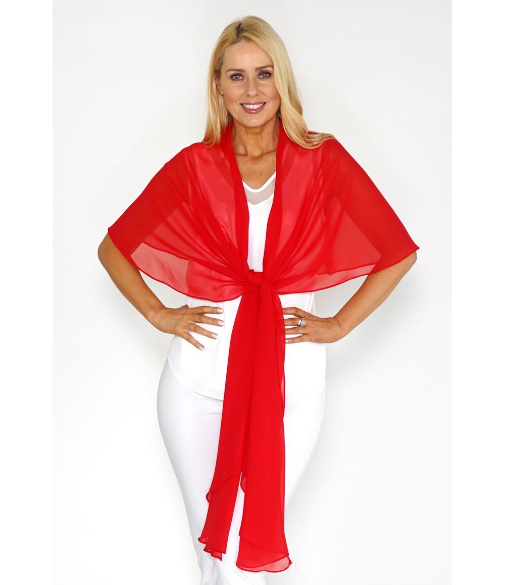 Pamela Scott Red Chiffon Shoulder Wrap