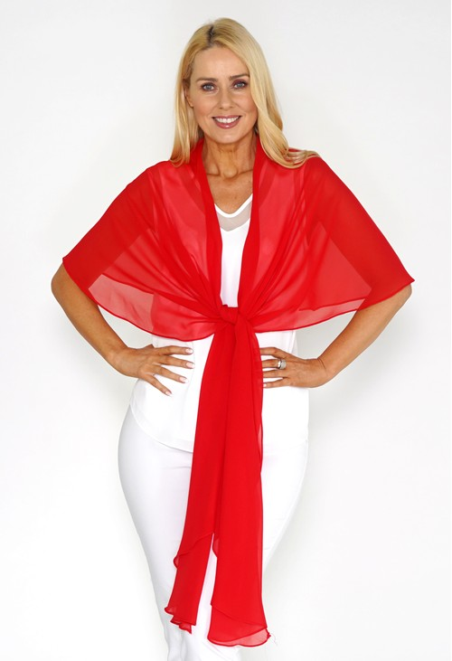 Pamela Scott Red Chiffon Shoulder Wrap