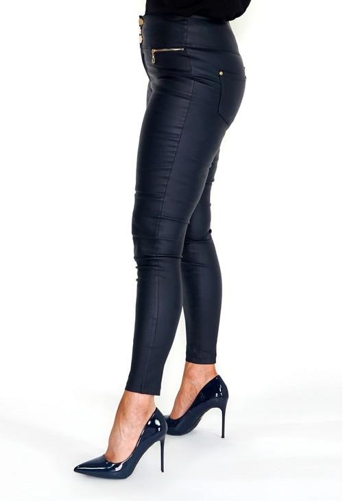 Pamela Scott Navy High Waisted Coated Trousers