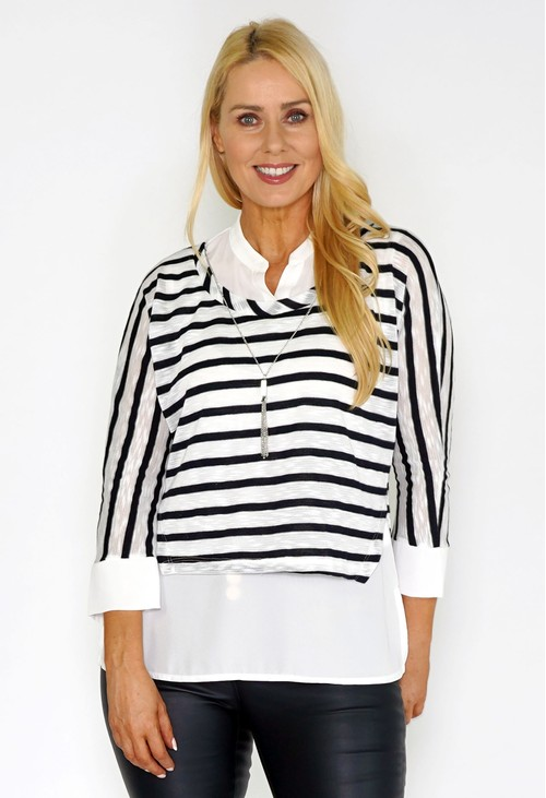 Sophie B STRIPE 2 in 1 Top with Necklace Detail