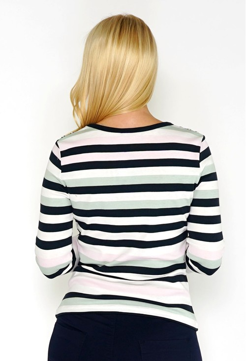 Twist Stripe Top with Button Detail