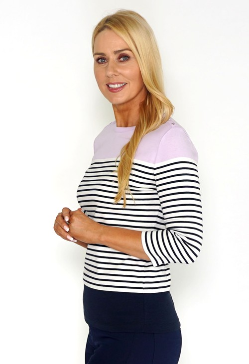 Twist Stripe Top with Shoulder Button Detail