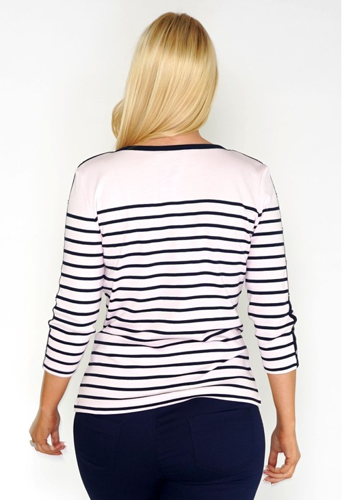Twist Light Pink and Navy Striped Top with Button Sleeve Detail
