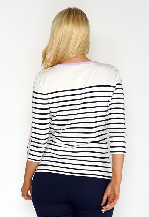 Twist Navy and White Striped Top with Lilac Button Sleeve Detail