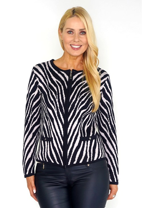 Twist Navy and Pink Zebra Zip-up