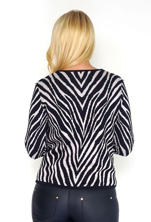 Twist Navy and Pink Zebra Zip-up