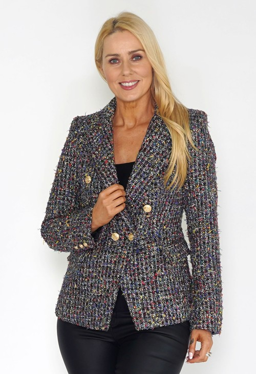 Pamela Scott Black Tweed Blazer