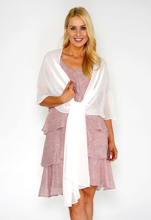 Pamela Scott White Chiffon Shoulder Wrap