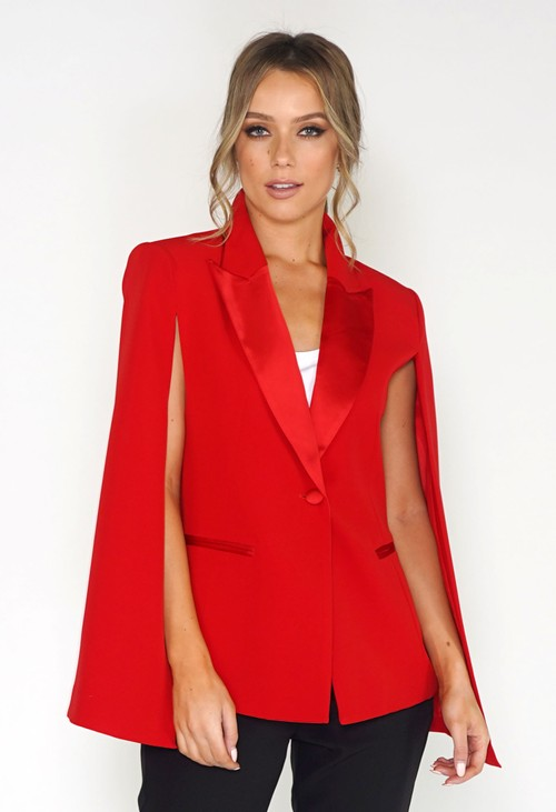 Pamela Scott Red Cape Blazer