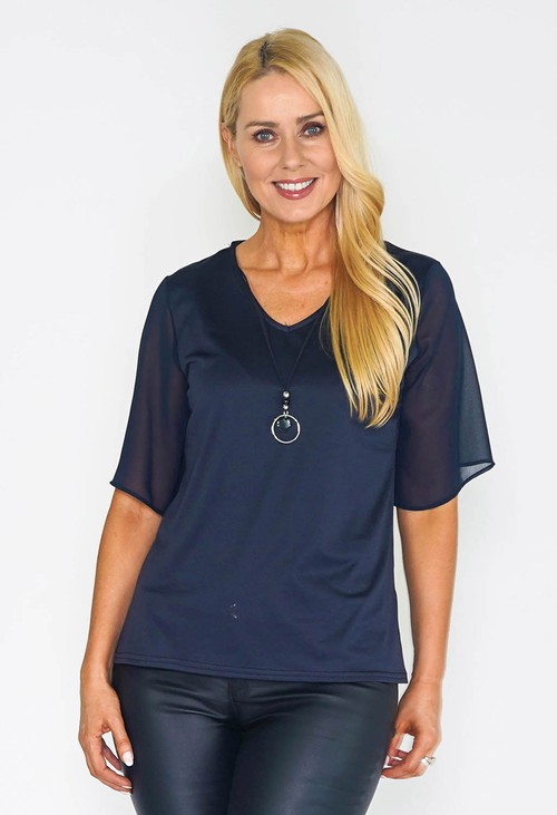 Zapara Navy Tulle Sleeve Top