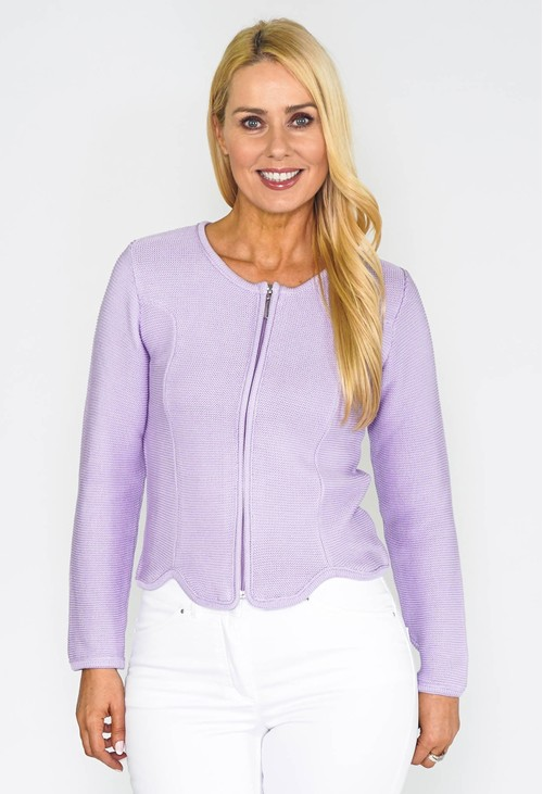 Twist Lilac Cardigan with Scalloped Hem