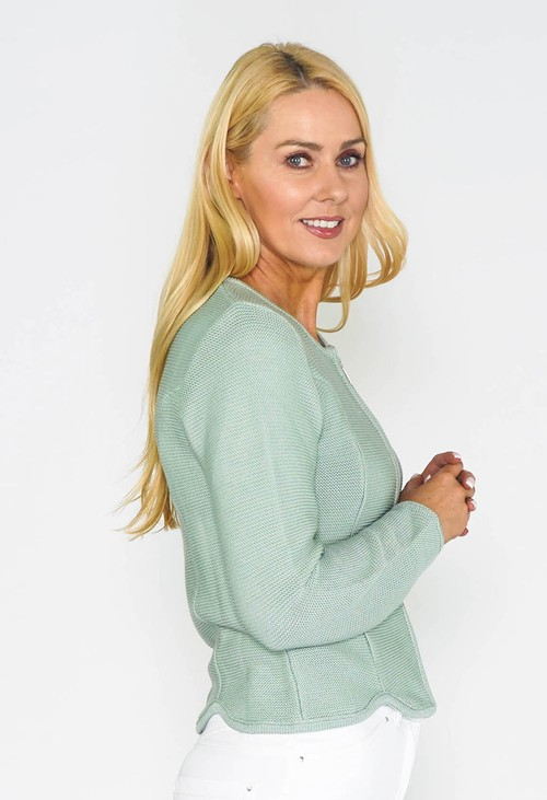 Twist Sage Cardigan with Scalloped Hem