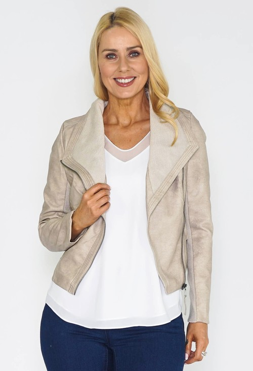 Pamela Scott Beige FAUX LEATHER JACKET