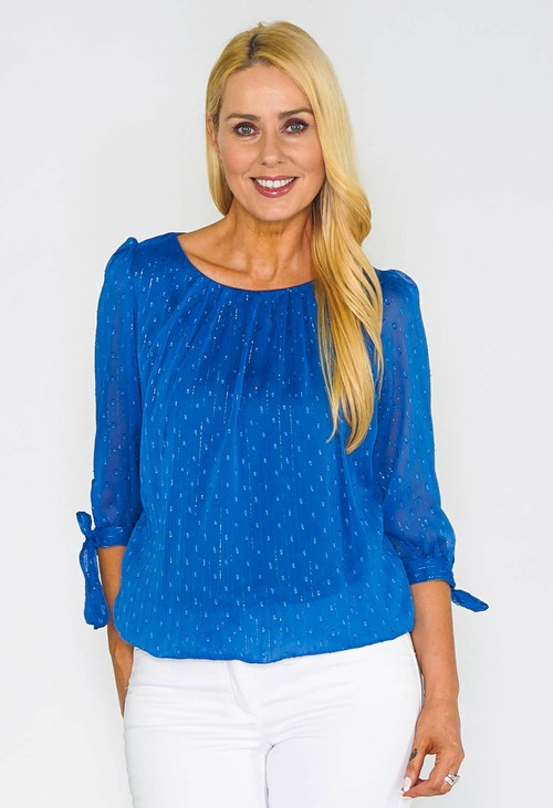 Zapara Blue Lurex Stripe and Spot Blouse