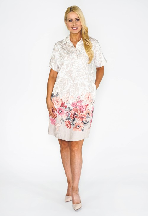 Pomodoro Tropical Watercolour Shirt Dress