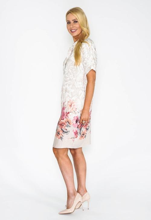 Pomodoro Tropical Watercolour Shirt Dress