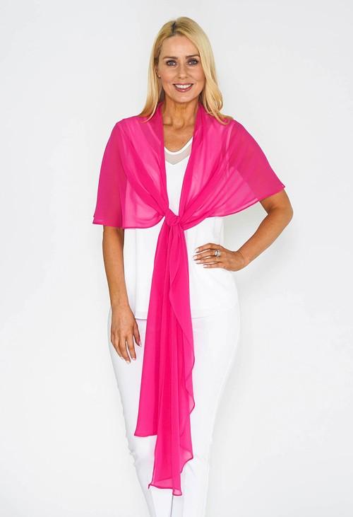 Pamela Scott Pink Chiffon Shoulder Wrap