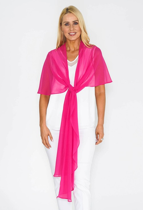 Pamela Scott Pink Chiffon Shoulder Wrap