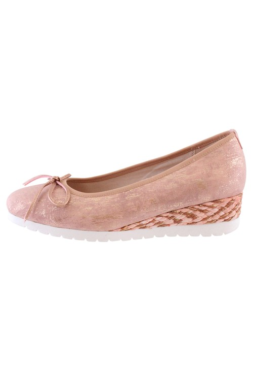 Susst Soft Shimmer Pink Casual Wedge Shoe