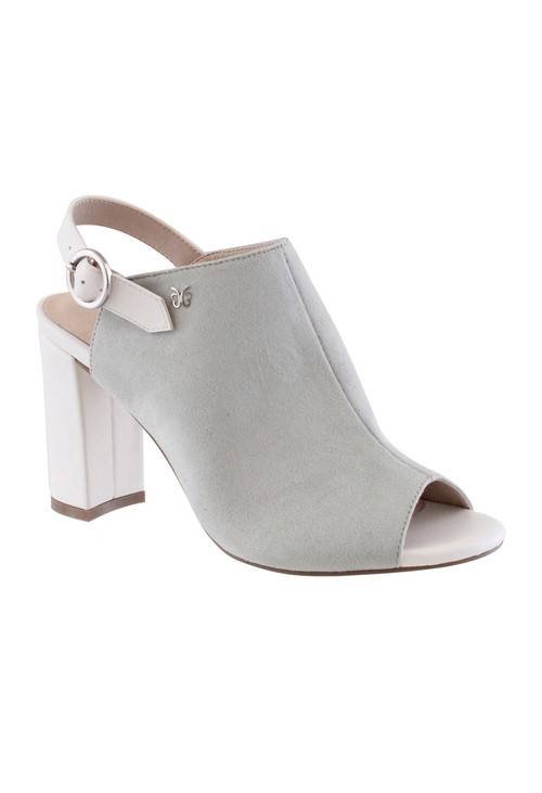 Pamela Scott Light Grey Block Heel Peep Toe Sling back