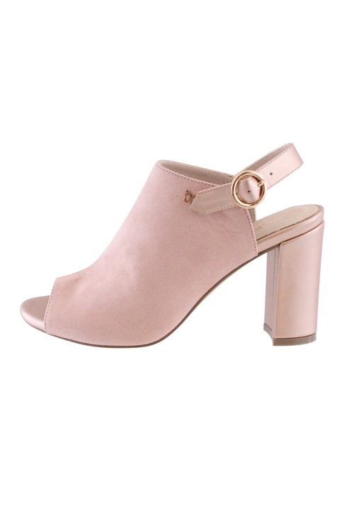 Pamela Scott Soft Pink Block Heel Peep Toe Sling Back