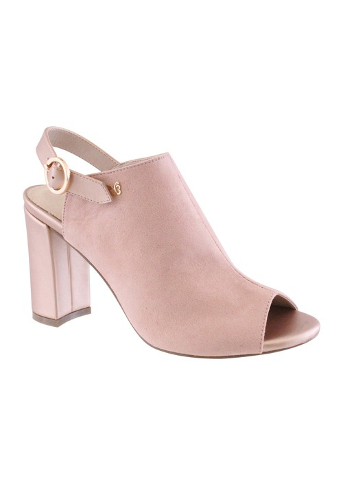 Shoe Lounge Soft Pink Block Heel Peep Toe Sling Back