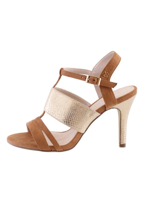 Pamela Scott Tan High Heel Instep Strap Shoe