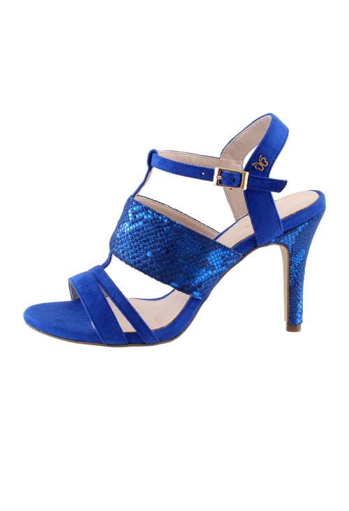 Pamela Scott Cobalt Blue High Heel Instep Strap Shoe