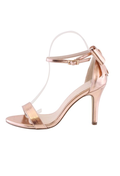 Pamela Scott Rose Gold High Heel Ankle Strap Shoe