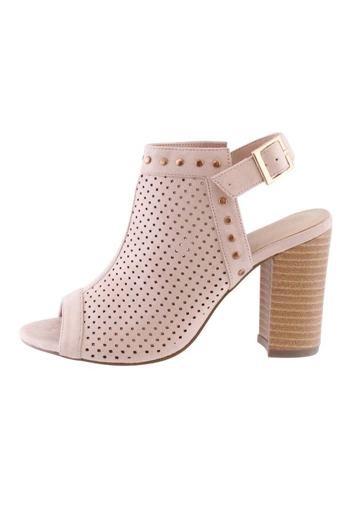 Shoe Lounge Beige Block Heel Peep Toe Sling Back