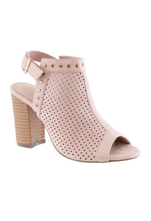 Shoe Lounge Beige Block Heel Peep Toe Sling Back